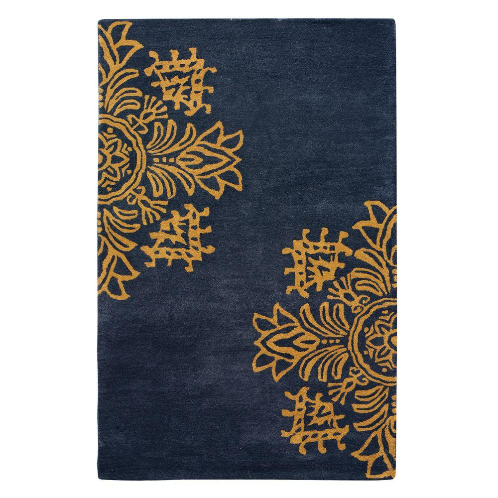 Home Decorators Collection Tempo Blue/Gold 2 ft. 3 in. x 3 ft. 9 in. Area Rug