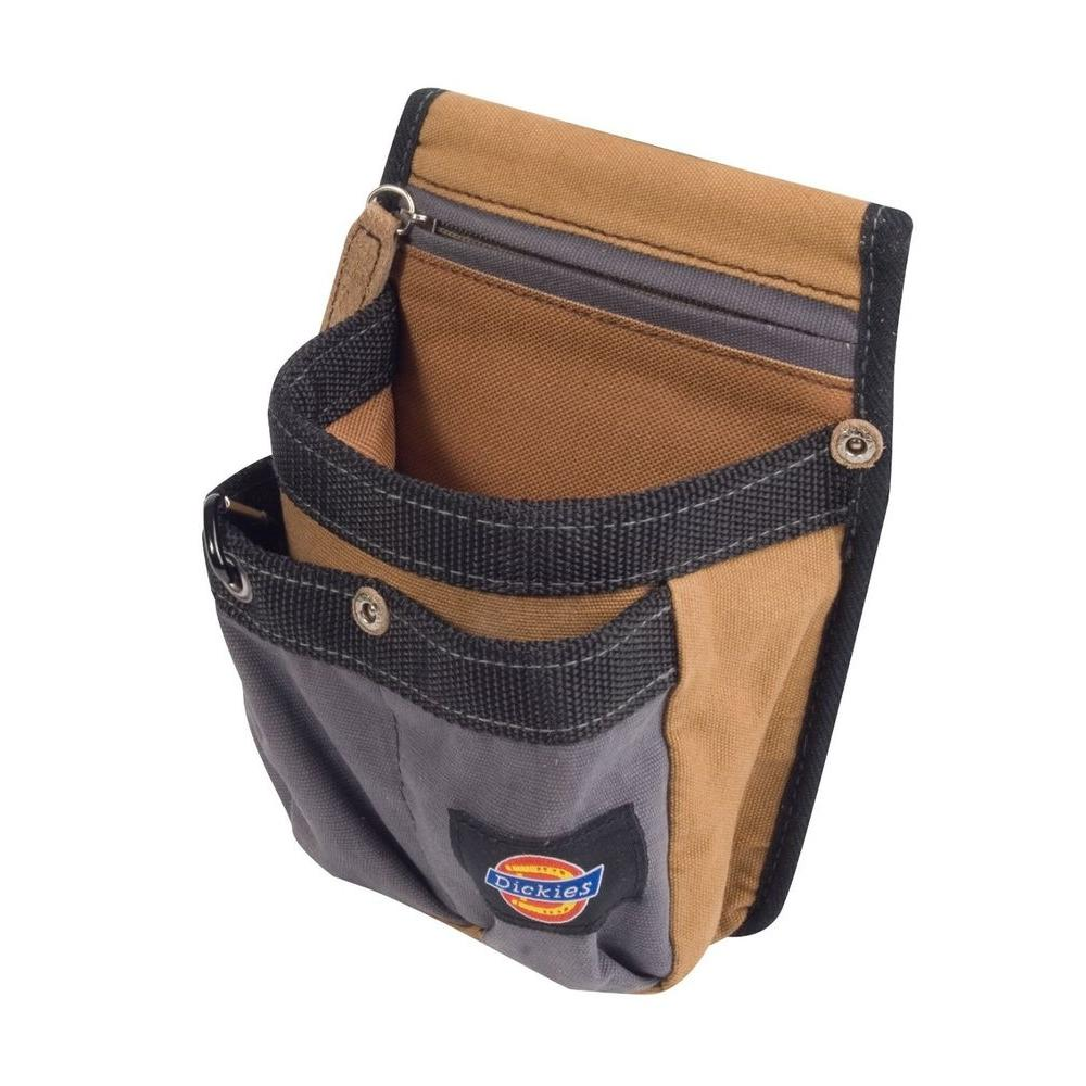 4-Pocket Tool Belt Pouch with Zippered Security Pocket, Tan