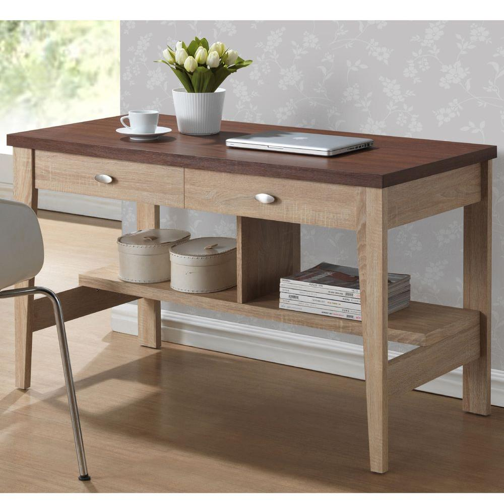 Baxton Studio Fillmore Writing Desk in Natural/Dark Brown-28862-5432-HD - The