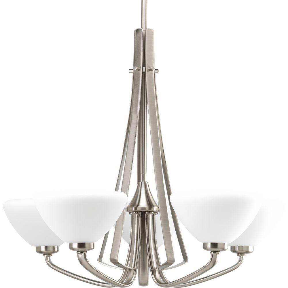 Progress Lighting Rave Collection 5-Light Brushed Nickel Chandelier-P4642-09 -