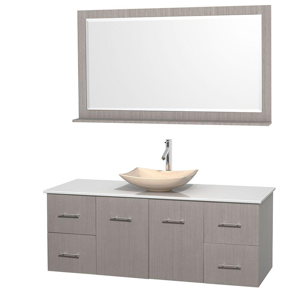 Wyndham Collection Centra 60 in. Vanity in Gray Oak with Solid-Surface Vanity Top in White, Ivory Marble Sink and 58 in. Mirror