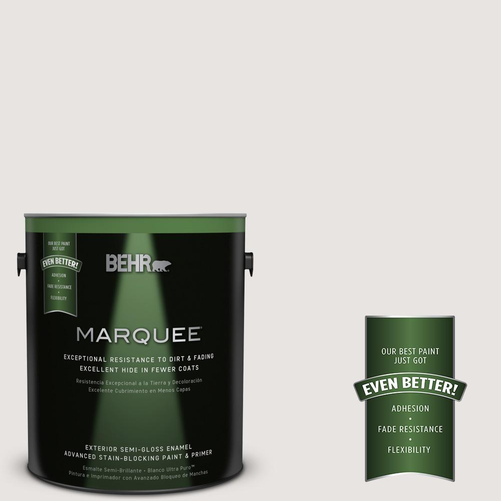 BEHR MARQUEE 1-gal. #PR-W8 Ambience White Semi-Gloss Enamel Exterior Paint
