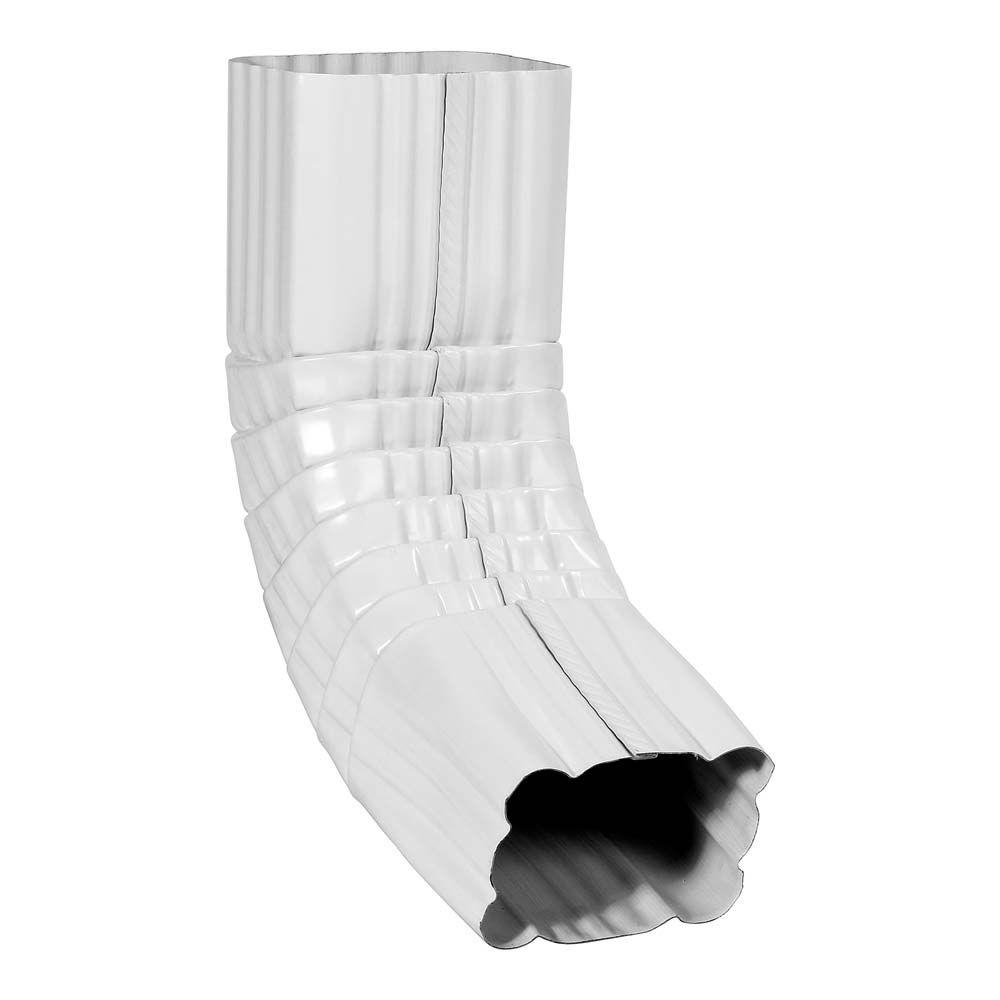 2 in. x 3 in. White Galvanized 75 Degree A-Style Downspout