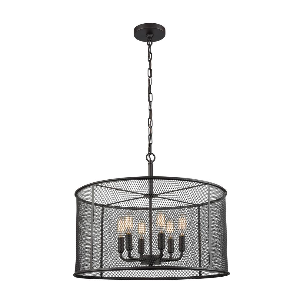 Williamsport 6-Light Oil Rubbed Bronze Chandelier With Short Metal Drum Shade