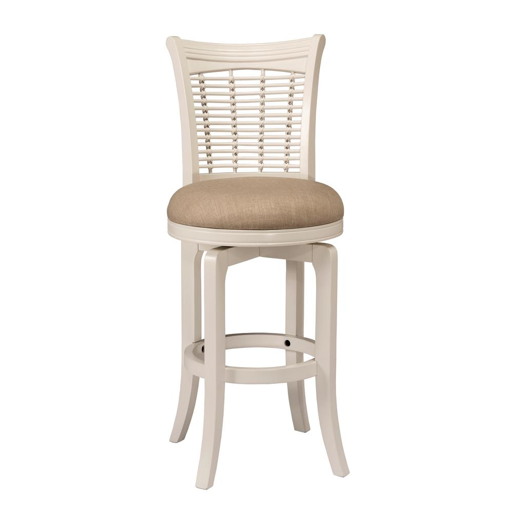 Hillsdale Bayberry 30 in. White Swivel Cushioned Bar Stool