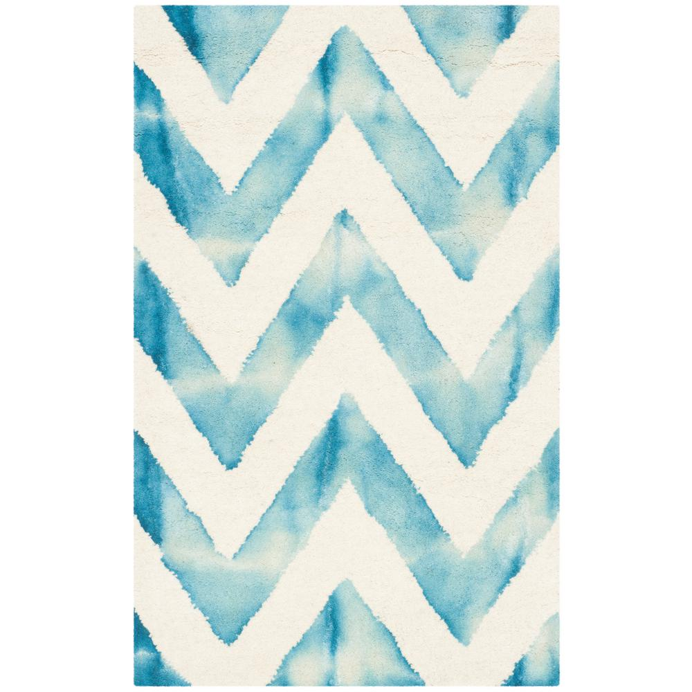 Dip Dye Ivory/Turquoise 2 ft. x 3 ft. Area Rug