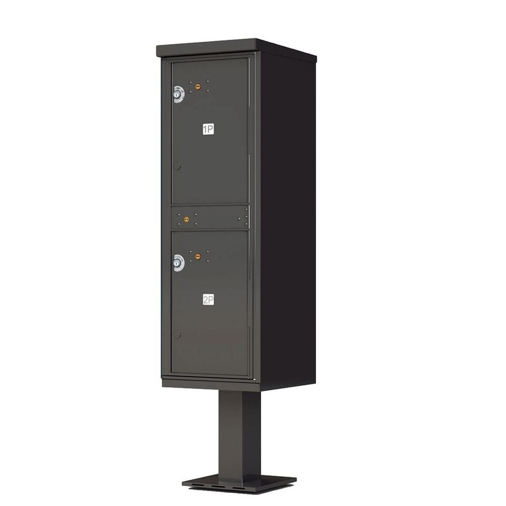 1,590 Valiant Dark Bronze Pedestal Mount Locking 4 Compartment Parcel Locker