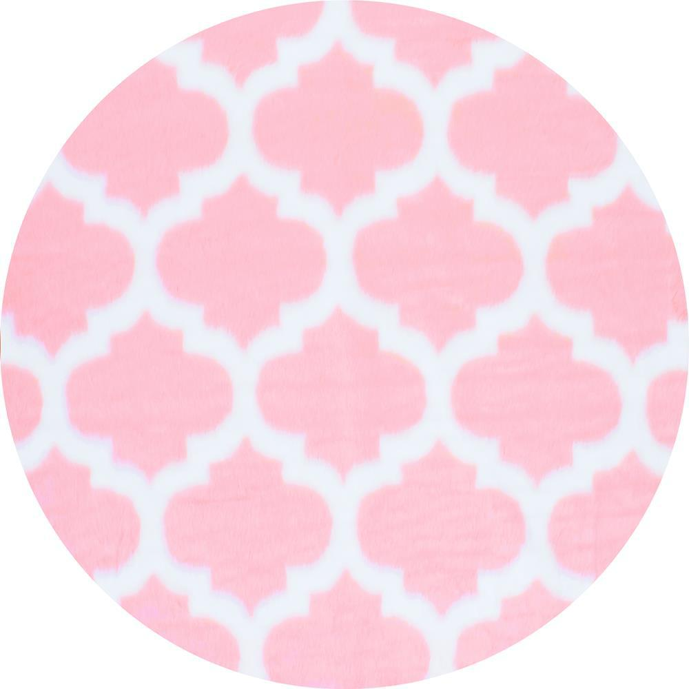 NuLOOM Faux Sheepskin Shaunna Pink 5 Ft. X 5 Ft. Round Area Rug