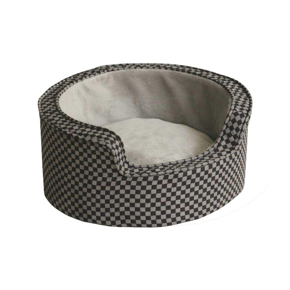 Round Comfy Sleeper Small Gray/Black Self-Warming Dog Bed