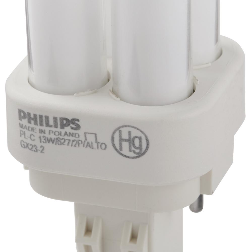 Philips 13 Watt Soft White 2700k Pl C 2 Pin Gx23 Energy Saver 14 Compact Fluorescent Electronic Ballast 10000 Hour Lifespan This