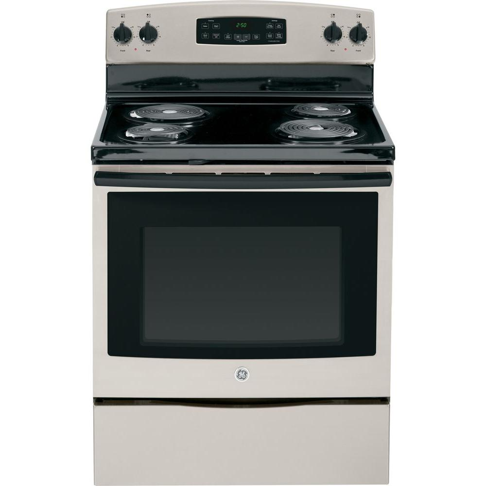 GE 5.3 cu. ft. Electric Range with Self-Cleaning Oven in Silver