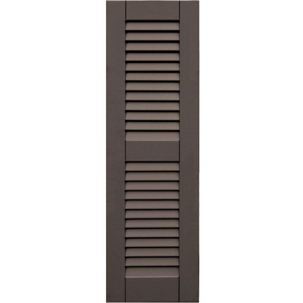 Winworks Wood Composite 12 in. x 39 in. Louvered Shutters Pair #641 Walnut