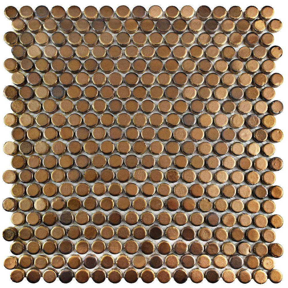 Merola Tile Comet Penny Round Gold 11-1/4 in. x 11-3/4 in...