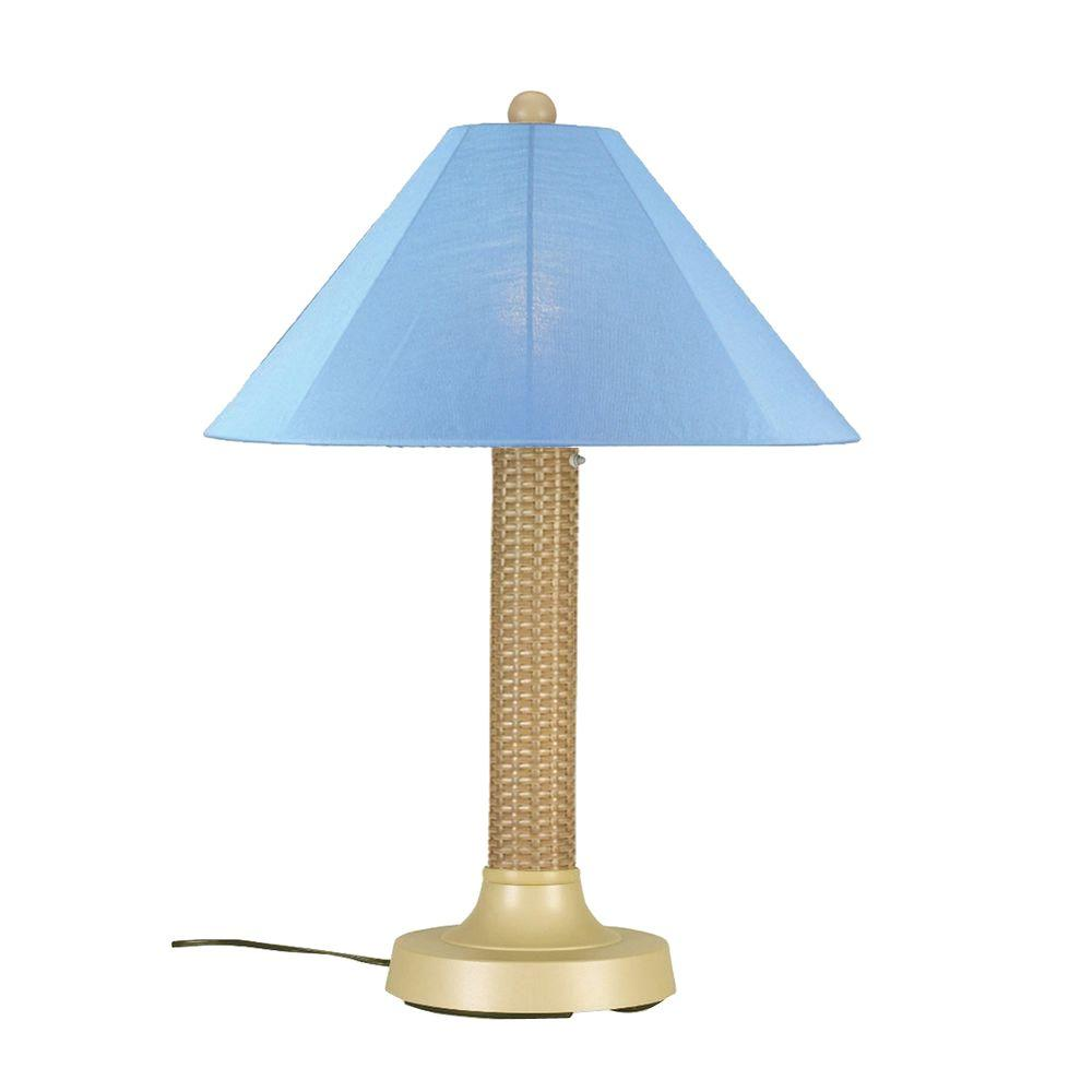 Bahama Weave 34 in. Mojavi Outdoor Table Lamp with Sky Blue