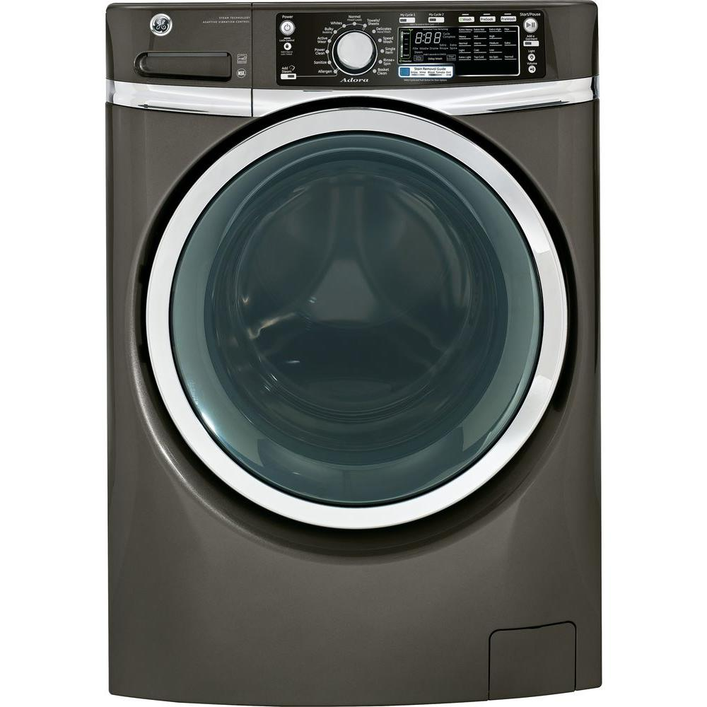 GE Adora 4.8 DOE cu. ft. High-Efficiency Front Load Washer with Steam in Metallic Carbon, ENERGY STAR