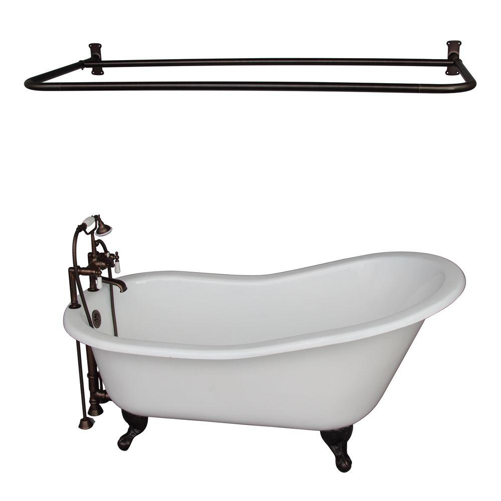 Barclay Products 5.6 ft. Cast Iron Ball and Claw Feet Slipper Tub in White with Oil Rubbed Bronze Accessories