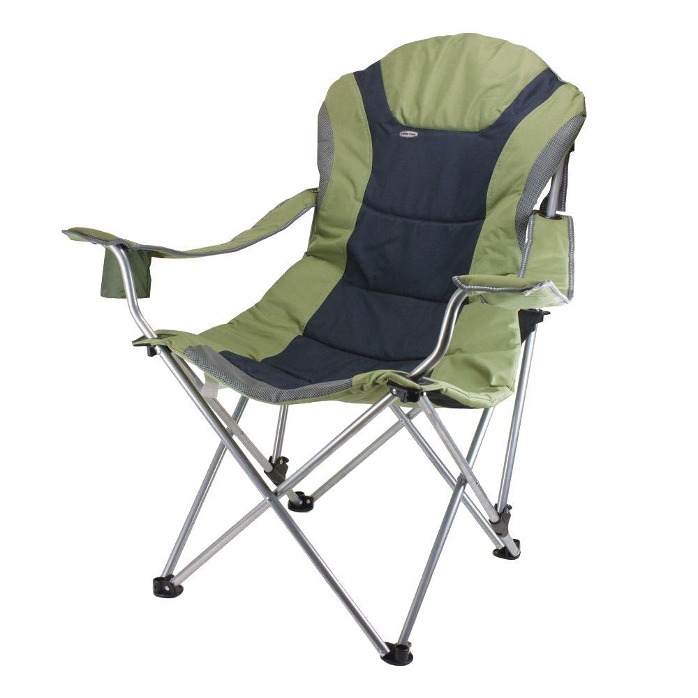 Picnic Time Reclining Camp Sage Green and Dark Grey Patio Chair