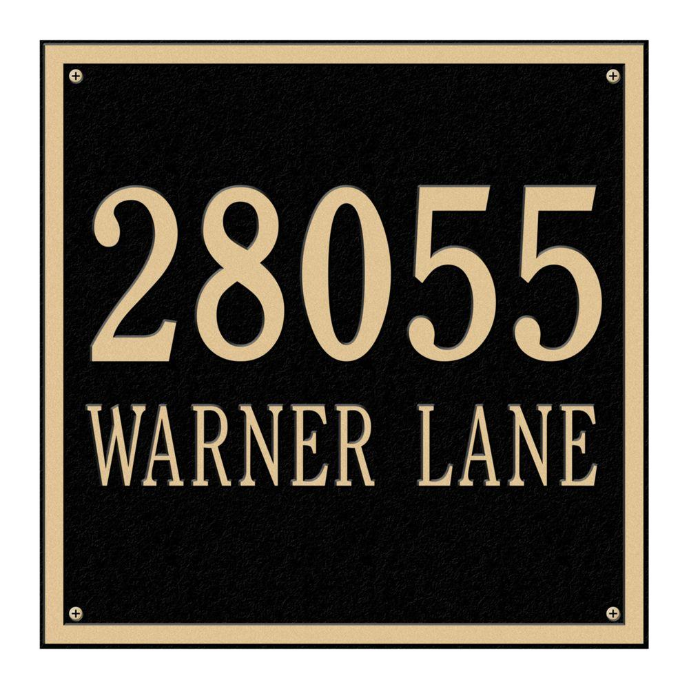Whitehall Products Square Estate Wall 2-Line Address Plaque - Black/Gold-2117BG
