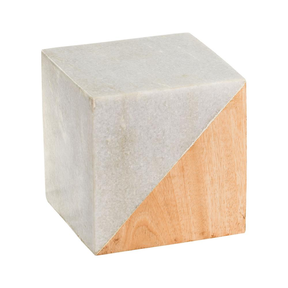 5 in. Marble and Wood Split Cube Decorative Sculpture in White