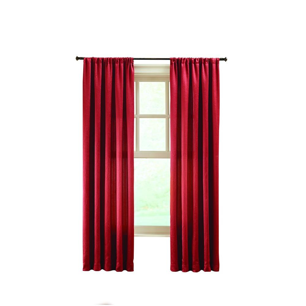 Terra Solid Crushed Room Darkener Curtain - 50 in. W x