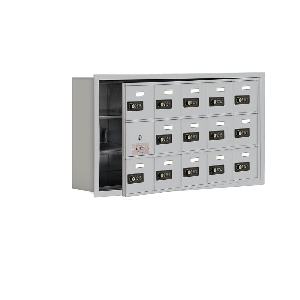 19100 Series 35.75 in. W x 18.75 in. H x 5.75 in. D 14 Doors Cell Phone Locker R-Mount Resettable Locks in Aluminum (Silver)