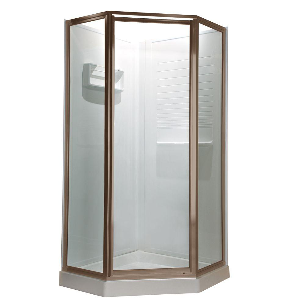 American Standard Prestige 24.25 in. x 68.5 in. Neo-Angle Shower Door in Brushed Nickel with Clear Glass