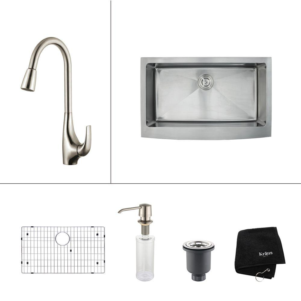 KRAUS All-in-One Farmhouse Apron Front Stainless Steel 33 in. Single Basin Kitchen Sink with Faucet in Stainless Steel