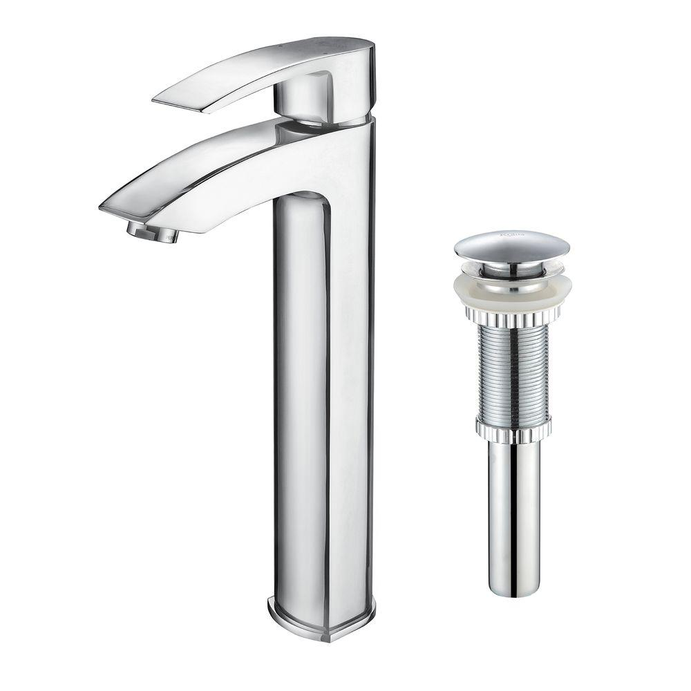 KRAUS Visio Single Hole Single-Handle Vessel Bathroom Faucet with Pop Up