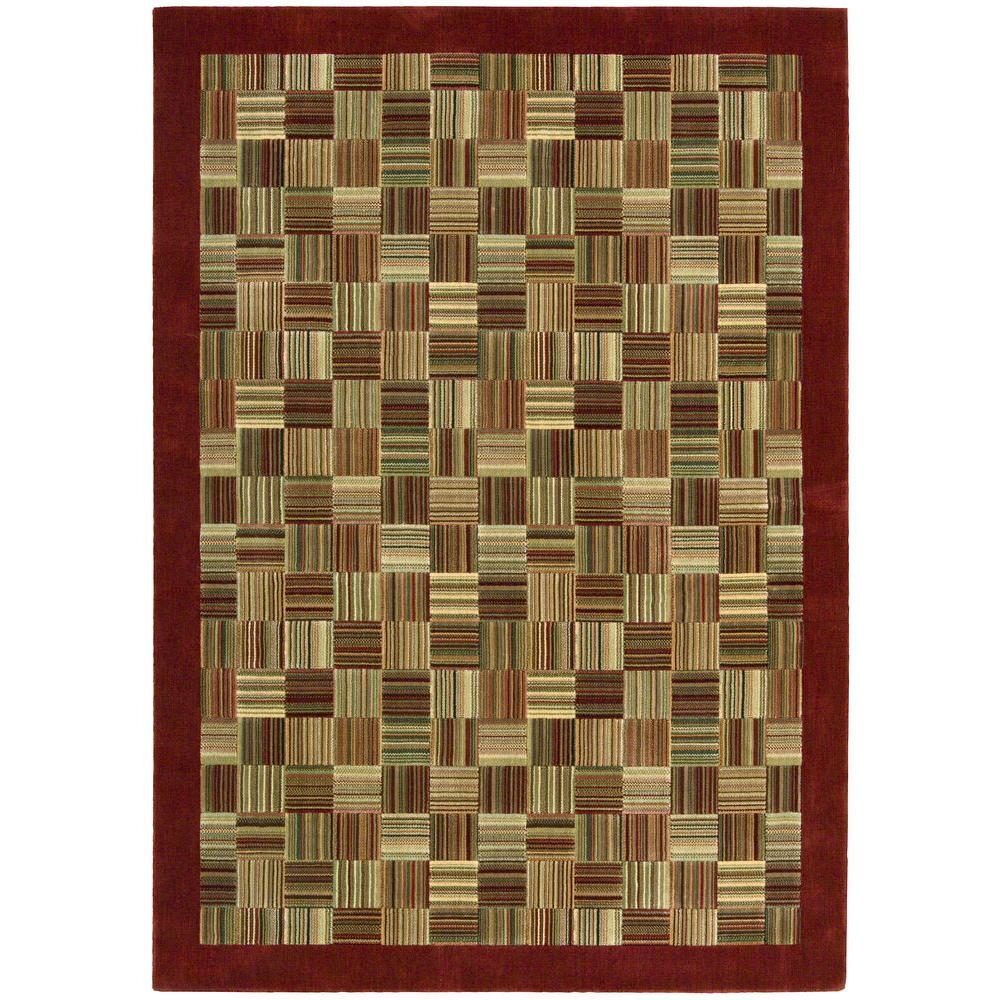 Nourison Overstock Parallels Brick 5 ft. 6 in. x 7 ft. 5 in. Area Rug