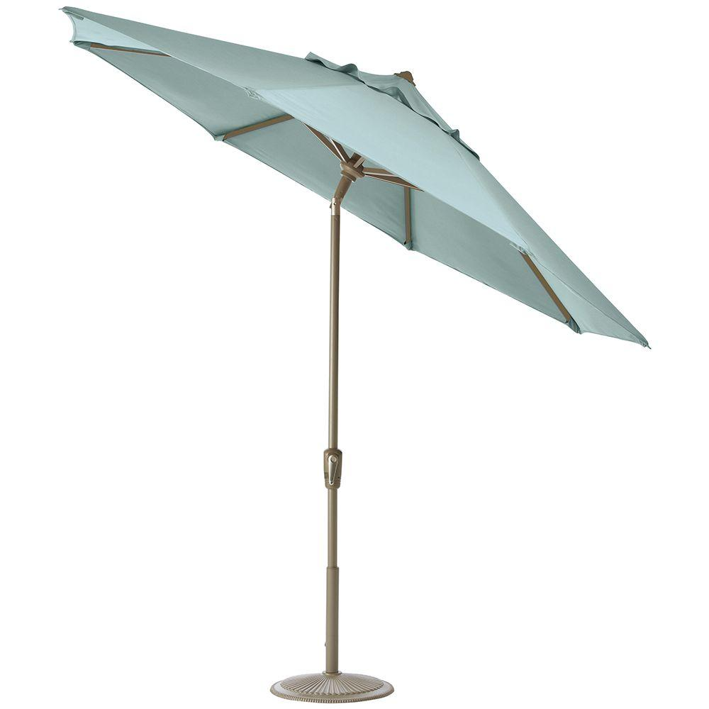 Home Decorators Collection 11 ft. Auto-Tilt Patio Umbrella in Mist Sunbrella with Champagne Frame