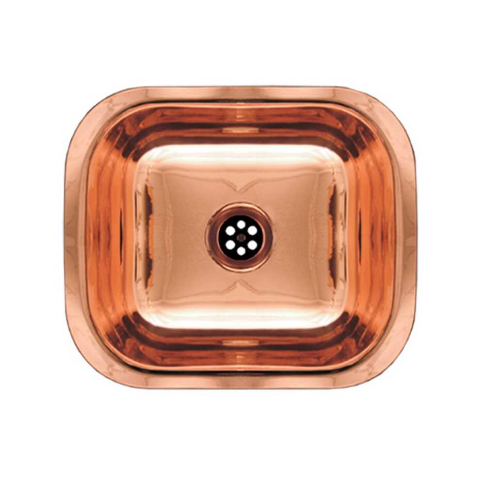 Whitehaus Collection Undermount Brass 13.75x11.5x5 0-Hole Bar/Prep Sink in Polished Copper