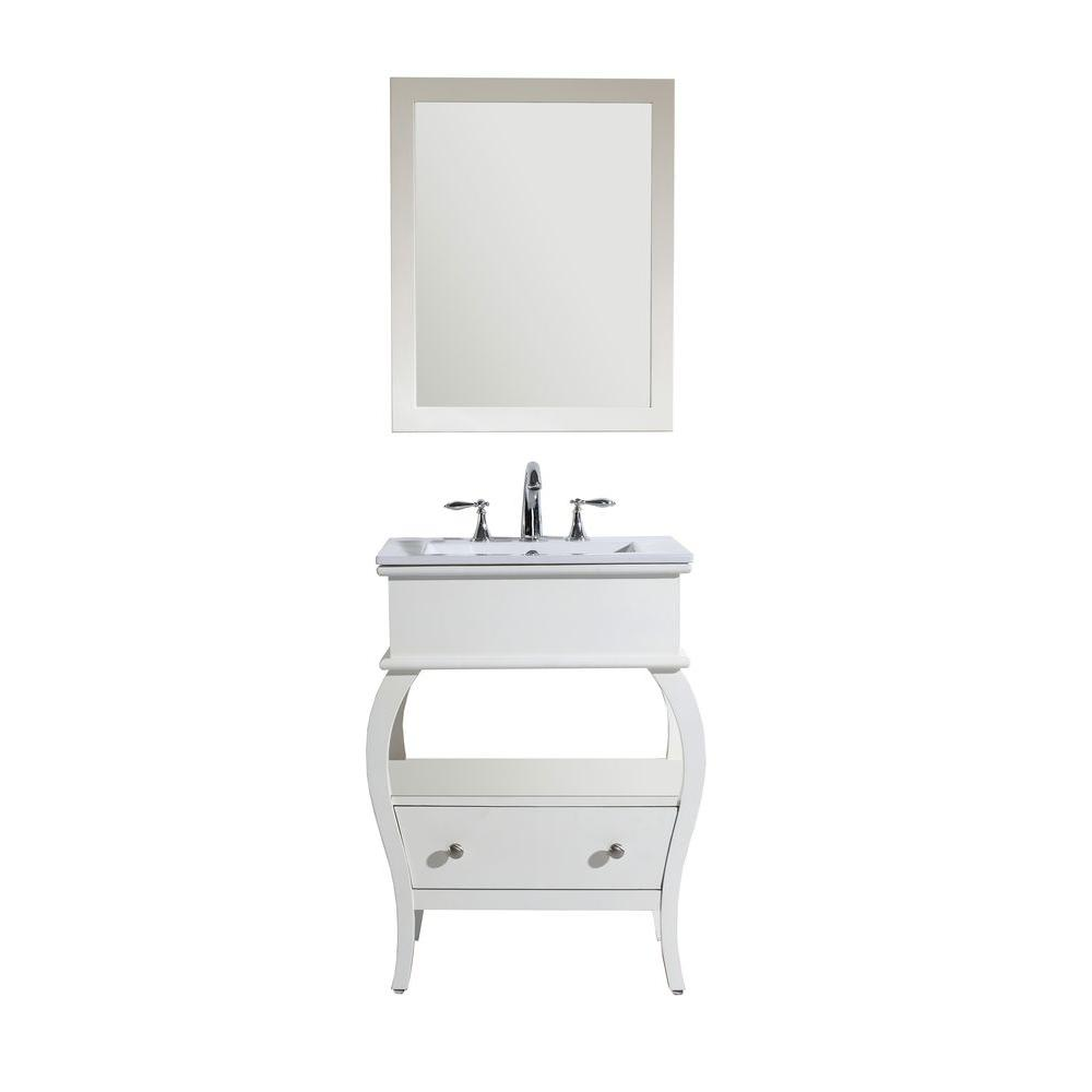 Virtu USA Hilary 26 in. Vanity in White with Ceramic Vanity Top in White and Mirror-DISCONTINUED