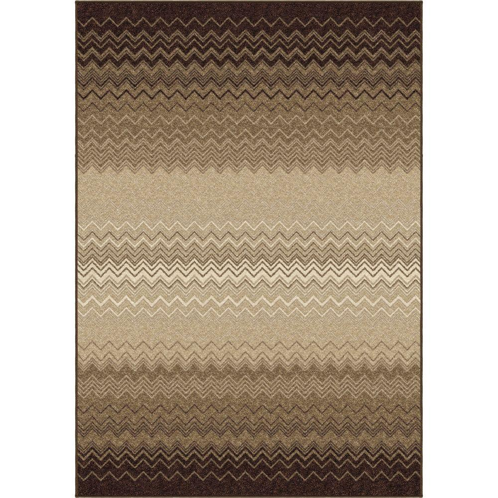 Orian Rugs Waving Chevron Taupe 7 ft. 10 in. x 10