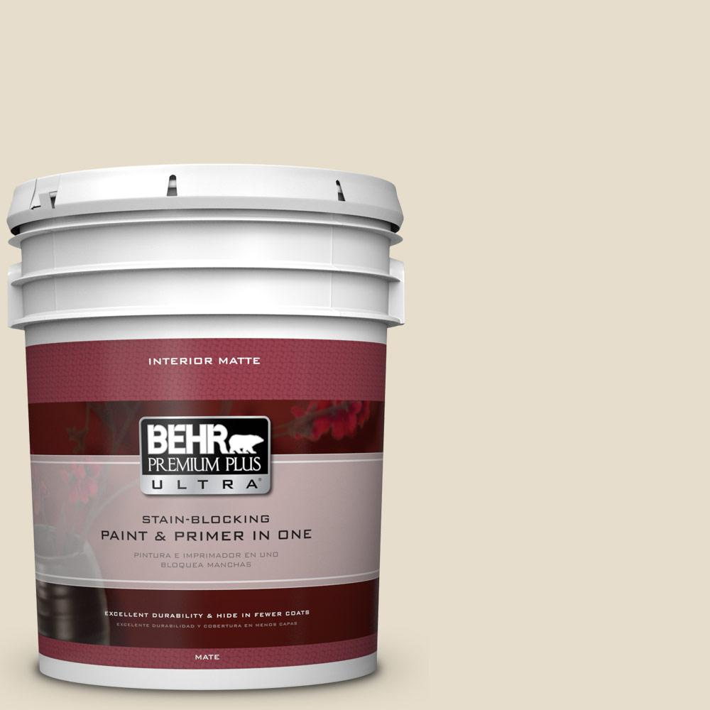 BEHR Premium Plus Ultra 5 gal. #pwl-90 Abstract White Flat/Matte Interior Paint