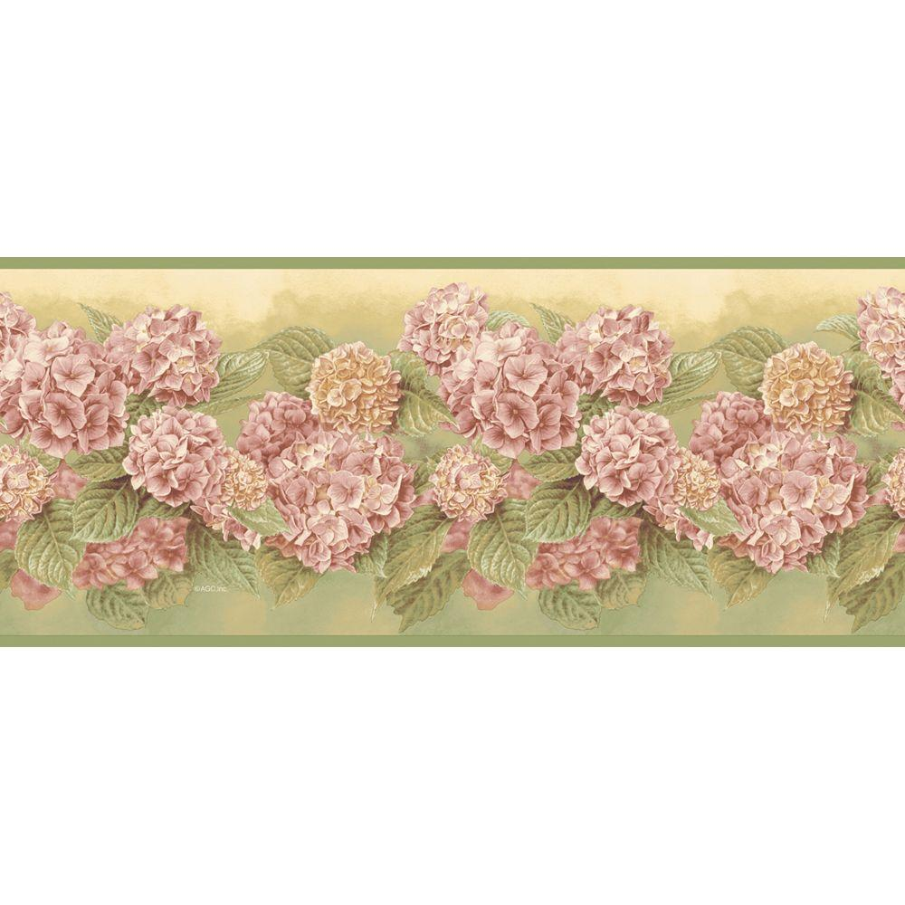 The Wallpaper Company 7.75 in. x 15 ft. Green Mid-Tone Hydrangea Border-DISCONTINUED