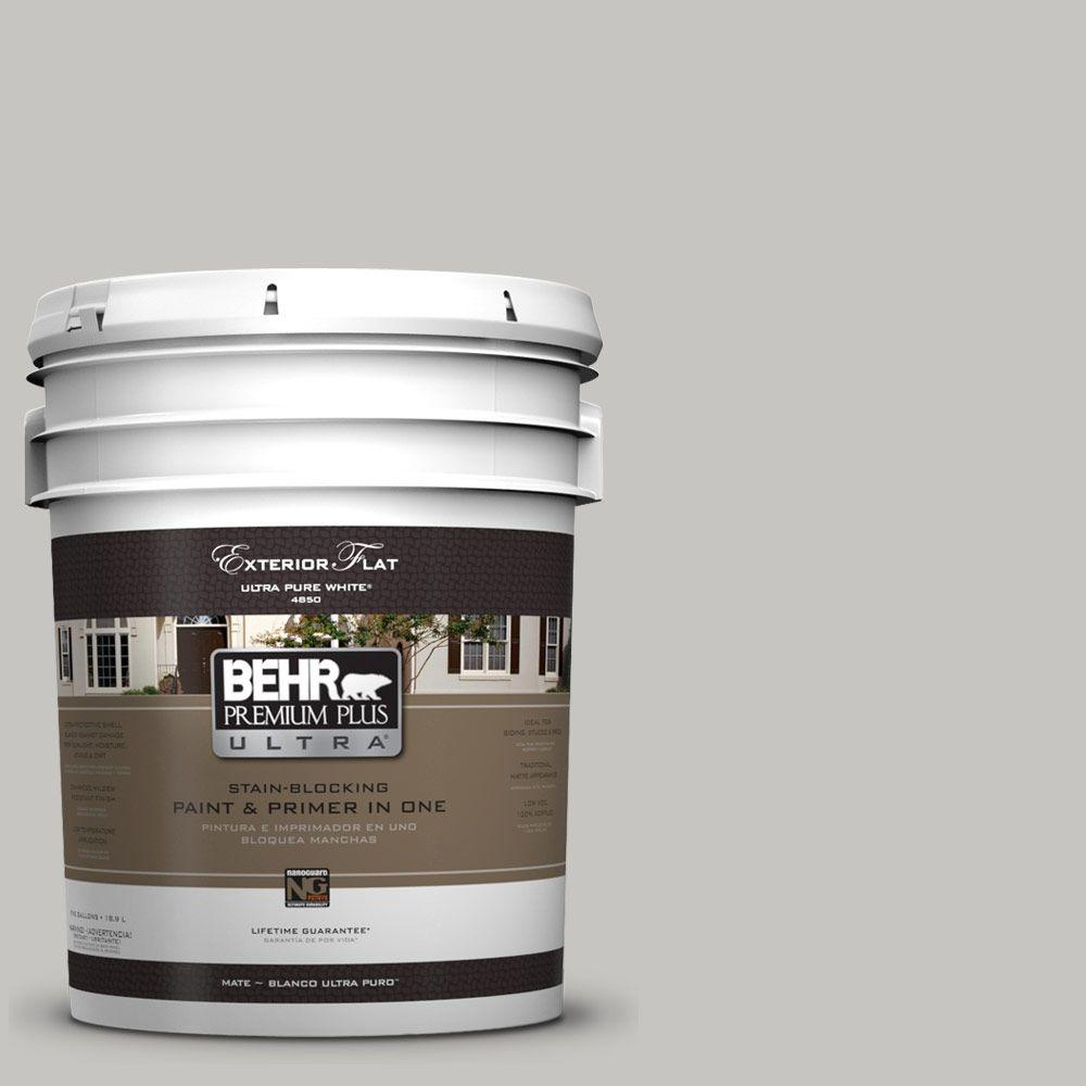 Behr Premium Plus Ultra 5 Gal Ul260 16 Silver Sateen Flat Exterior Paint 485005 The Home Depot