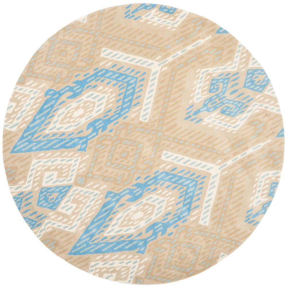 Wyndham Blue/Ivory 7 ft. x 7 ft. Round Area Rug