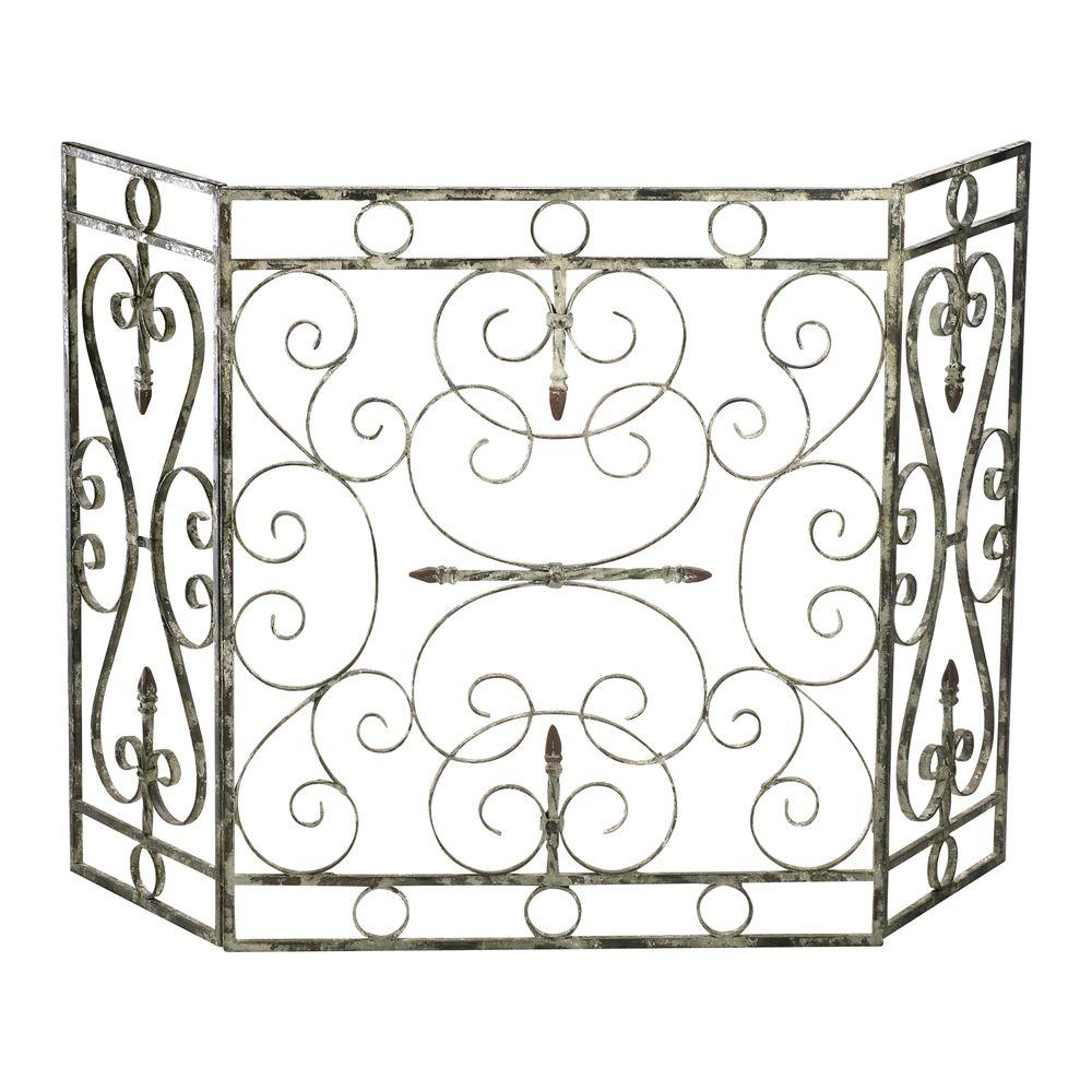 Filament Design Prospect Distressed Antique White 3-Panel Fireplace Screen