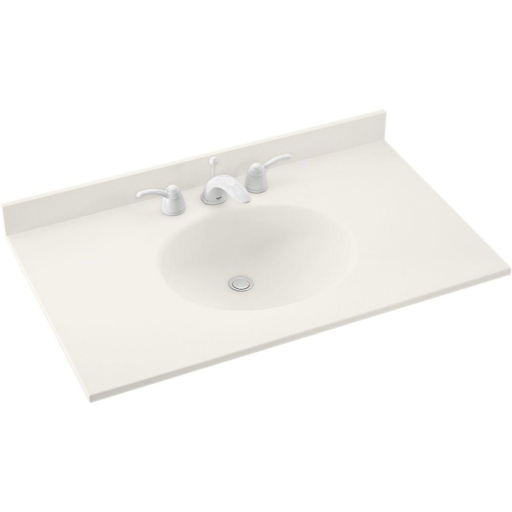 Swan Ellipse 43 in. W x 22 in. D x 10-1/4 in. H Solid-Surface Vanity Top in Bisque with Bisque Basin