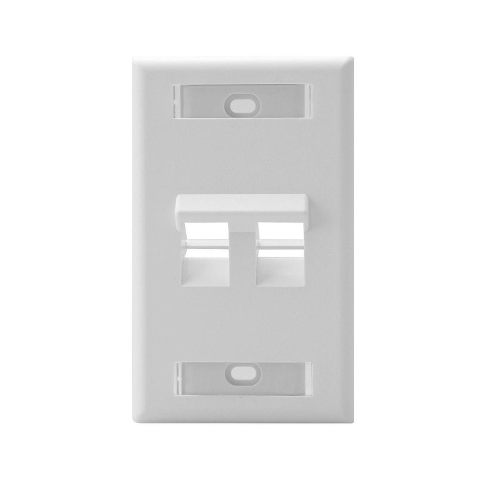 1-Gang QuickPort Standard Size 2-Port Angled Wallplate with ID Windows, White