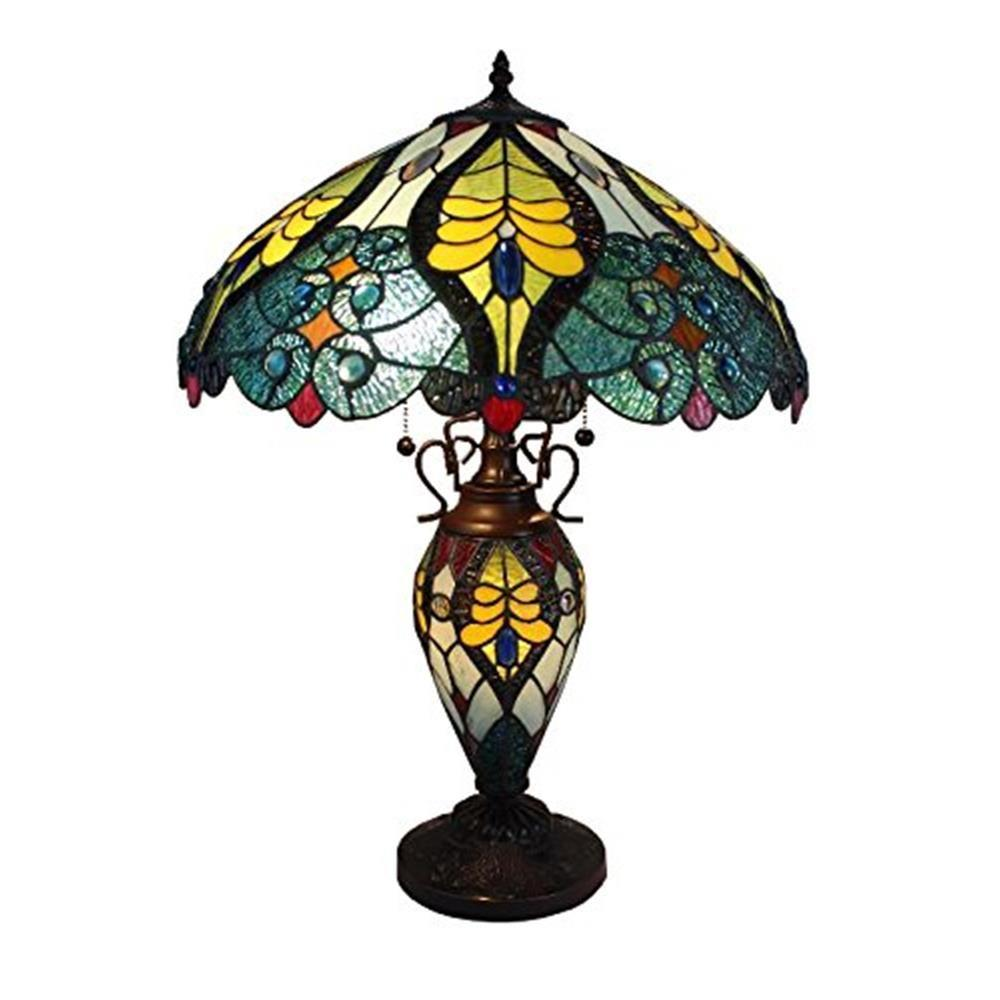 23 in. Tiffany Style Floral Table Lamp with Double Lit Lighted
