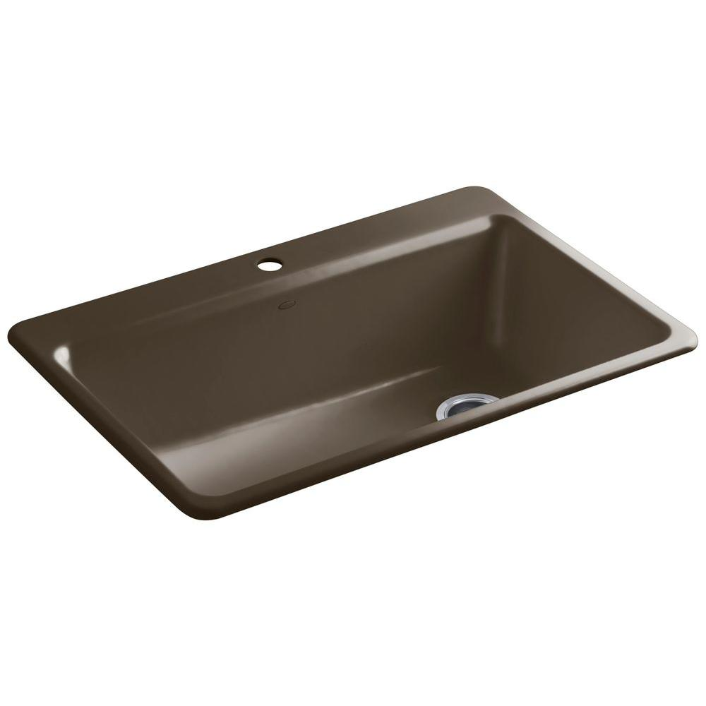 Riverby Drop-In Cast Iron 33 in. 1-Hole Single Basin Kitchen Sink