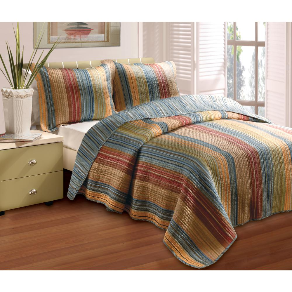 Greenland Trading Katy 3-Piece Multi King Quilt Set