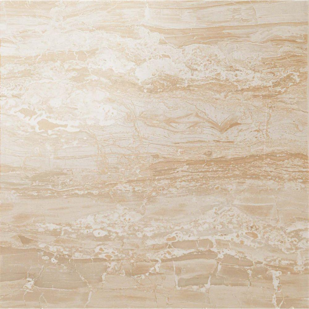 Impero Champagne 24 in. x 24 in. Polished Porcelain Floor and