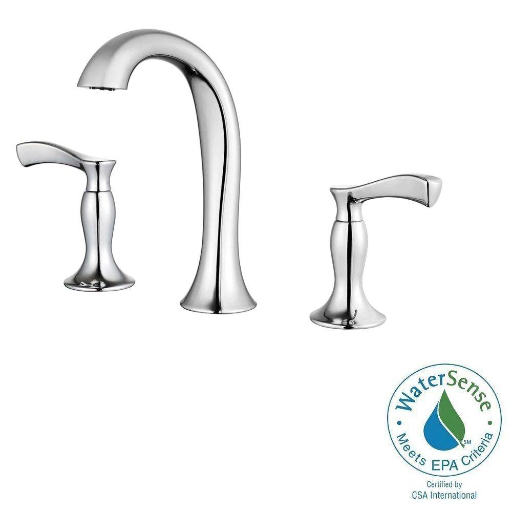 Pfister cassano 8 in widespread 2 handle high arc bathroom faucet in polished chrome f 049 cscc for Home depot bathroom sink faucets