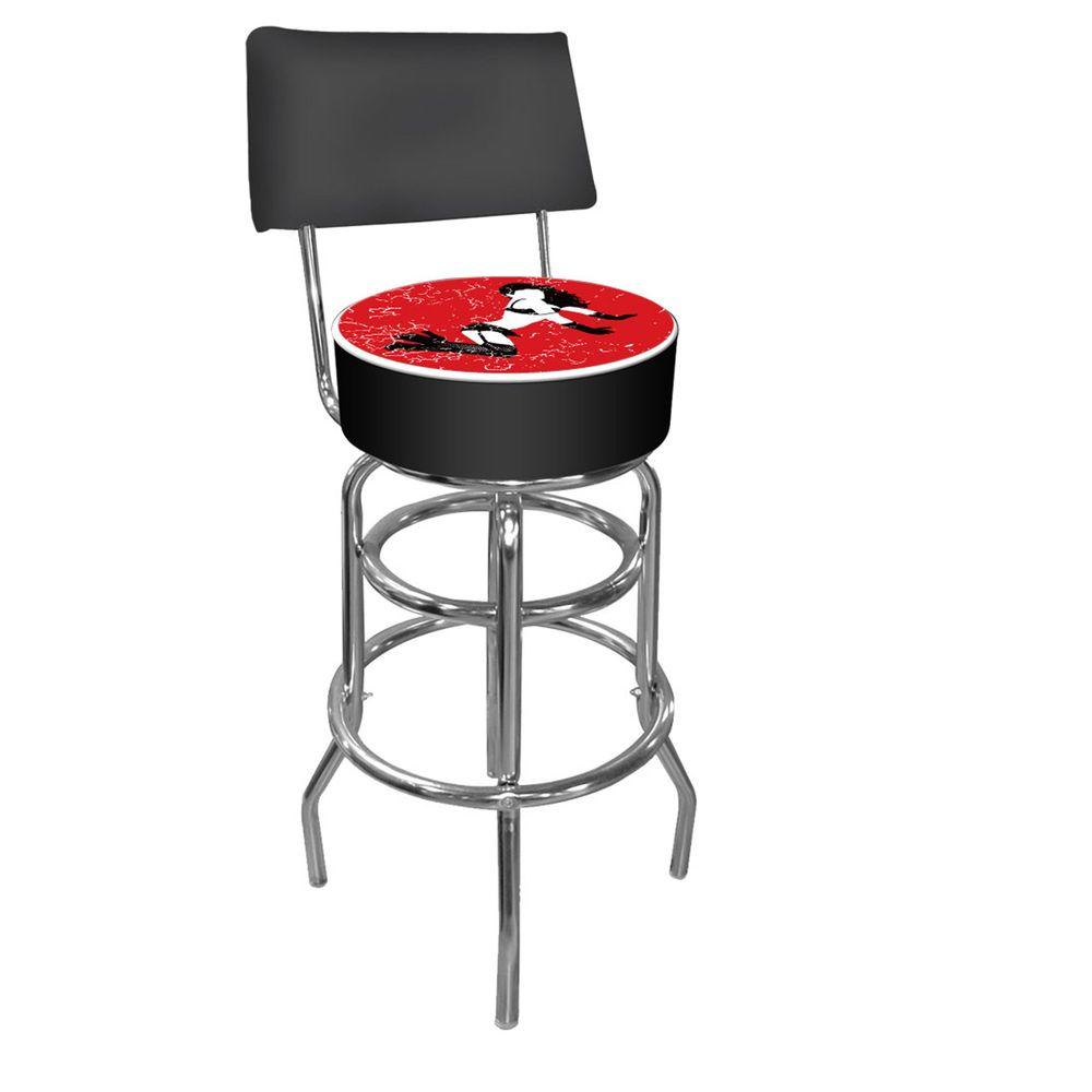 Trademark B Series Red Shadow Babes Padded Swivel Bar Stool with