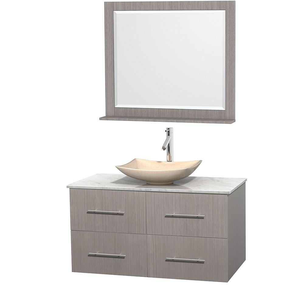 Wyndham Collection Centra 42 in. Vanity in Gray Oak with Marble Vanity Top in Carrara White, Ivory Marble Sink and 36 in. Mirror