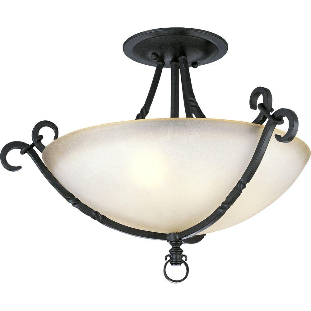 Santiago Collection 3-Light Forged Black Semi-Flush Mount Light