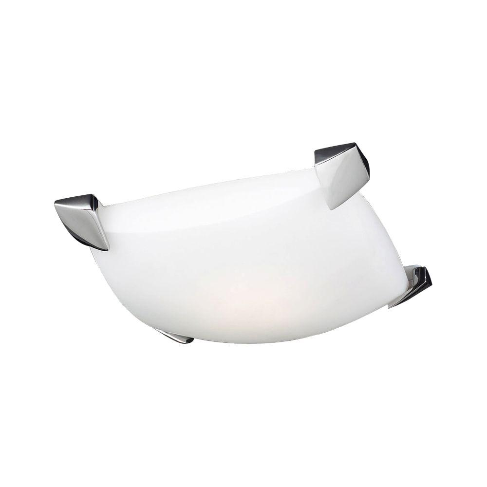 PLC Lighting 1 Light Flush Mount Ceiling Light Polished Chrome Finish Matte Opal Glass-DISCONTINUED