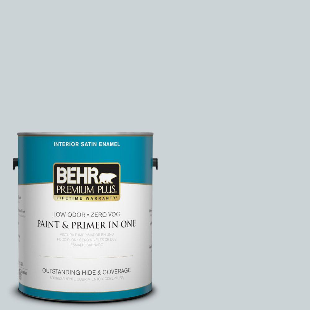 BEHR Premium Plus 1-gal. #N490-1 Absolute Zero Satin Enamel Interior Paint